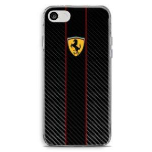 Cover smartphone in stile automobilistico Ferrari effetto carbon