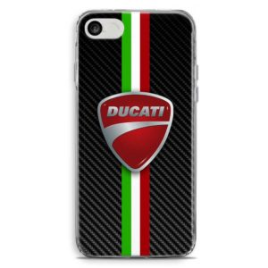Cover per smartphone con logo motociclistico Ducati in stile carbon