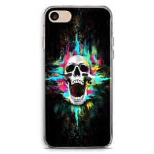 Cover smartphone teschio con sfondo multicolore