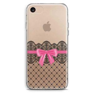 Cover trasparente con pizzo nero e fiocco rosa