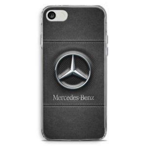 Cover per smartphone con logo auto Mercedes in stile pelle nero grigia