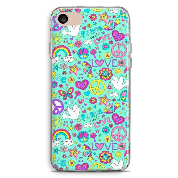 Cover smartphone peace and love celeste stile vintage