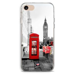 Cover smartphone con foto Londra bianco e nero e cabina rossa