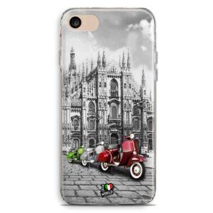 Cover smartphone con duomo di milano e vespe tricolore