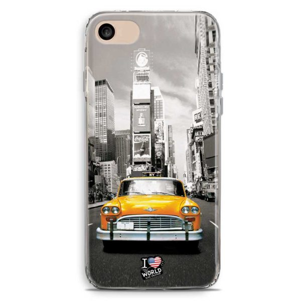 Cover smartphone con New York e Taxi Giallo