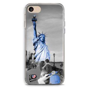 Cover smartphone con statua della liberta e vespa blu
