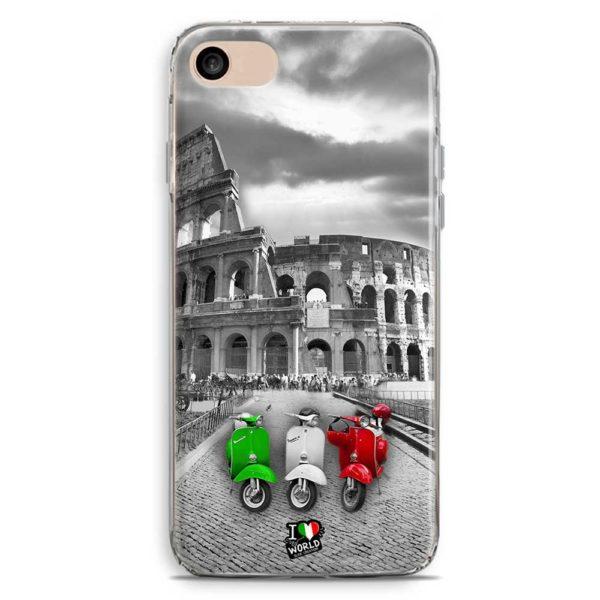 Cover smartphone con colosseo e vespe con colori bandiera italiana