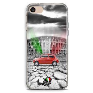 Cover smartphone con colosseo e Fiat 500 con bandiera italiana