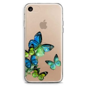 Cover smartphone con farfalle colorate blu