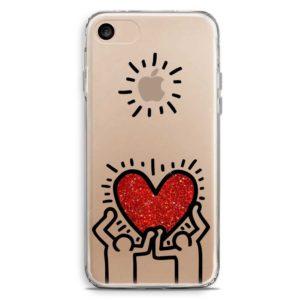 Cover smartphone con cuore glitter in stile Keith Haring