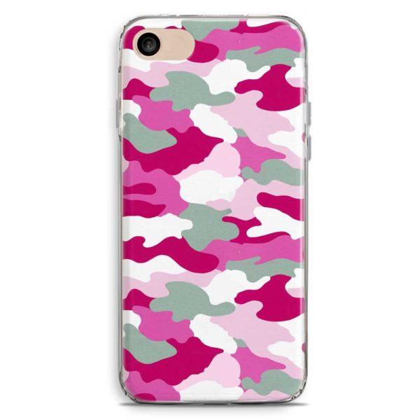 Cover smartphone in stile mimetica militare rosa e viola