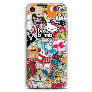 Cover vintage con boom sticker vintage con loghi Hello Kitty, South Park, Ghostbusters, Simpson, Griffin