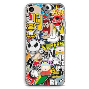 Cover smartphone vintage boom stickers con loghi flash, south park, griffin, skeleton, tazmania, coca cola