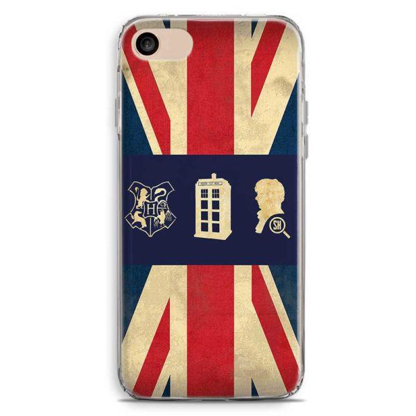 Cover smartphone Sherlock Holmes con bandiera inglese