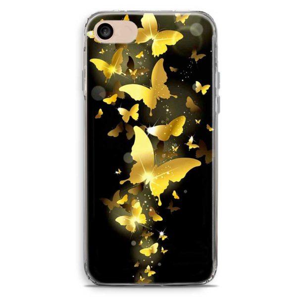 Cover smartphone nera con farfalle dorate volanti