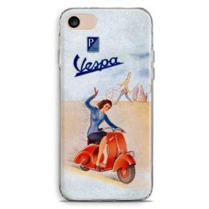 Cover per smartphone ragazza su Vespa piaggio 50 rossa