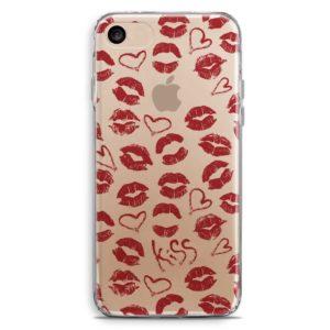 Cover smartphone trasparente baci e cuori rossi