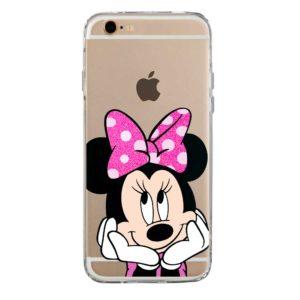 Cover per smartphone trasparente morbida con Minnie Mouse glitter Fluo Rosa
