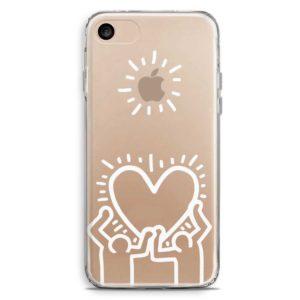 Custodia trasparente smartphone stile Keith Haring cuore bianco