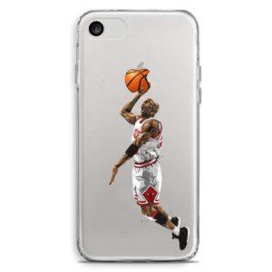 Cover trasparente per smartphone in stile schiacciata di Michael Jordan Chicago Bulls divisa bianca