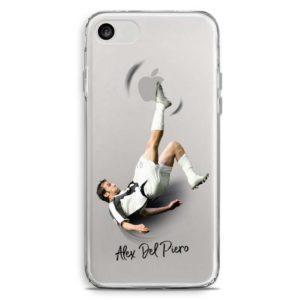 Cover trasparente per smartphone di Alex del Piero in rovesciata con maglia Juventus