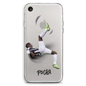 Cover per smartphone trasparente con rovesciata di Paul Pogba con maglietta della Juventus