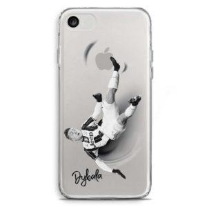 Cover trasparente per smartphone con Paulo Dybala in rovesciata con la maglia della Juventus