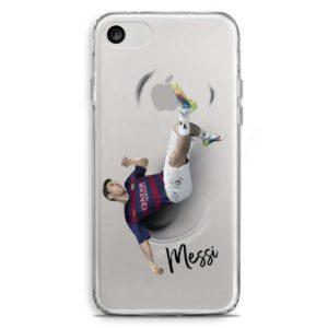 Cover trasparente per smartphone di Leo Messi in rovesciata con la maglia del Barcellona