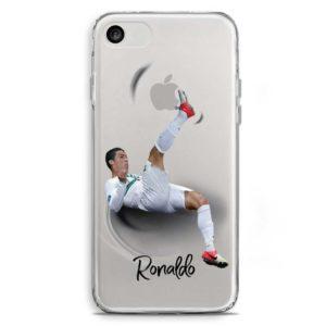Cover trasparente per smartphone di Cristiano Ronaldo in rovesciata con il Portogallo