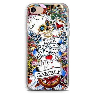 Cover smartphone colorata teschio carte poker life is a gamble