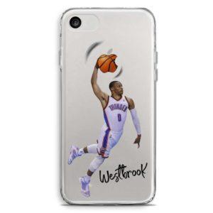 Cover trasparente per smartphone di Russell Westbrook in schiacciata con i Thunder