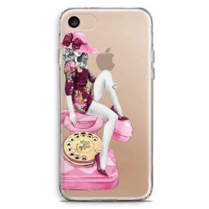 Cover smartphone trasparente ragazza seduta su telefono rosa pinup vintage
