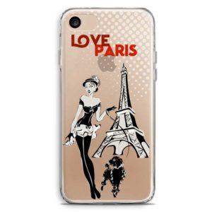 Cover trasparente smartphone ragazza con cagnoloino a parigi davanti torre eiffel