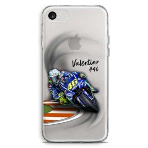 Cover trasparente per smartphone in curva con la sua Yamaha in Moto Gp