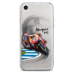 Cover trasparente per smartphone di Marc Marquez che curca in Moto Gp Honda