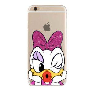 Cover morbida per smarthpone con Paperina Daisy Duck Disney con fiocco rosa glitter