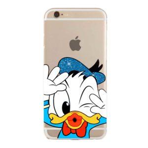 Cover morbida per smartphone con Paperino Donal Duck Disney Glitterato