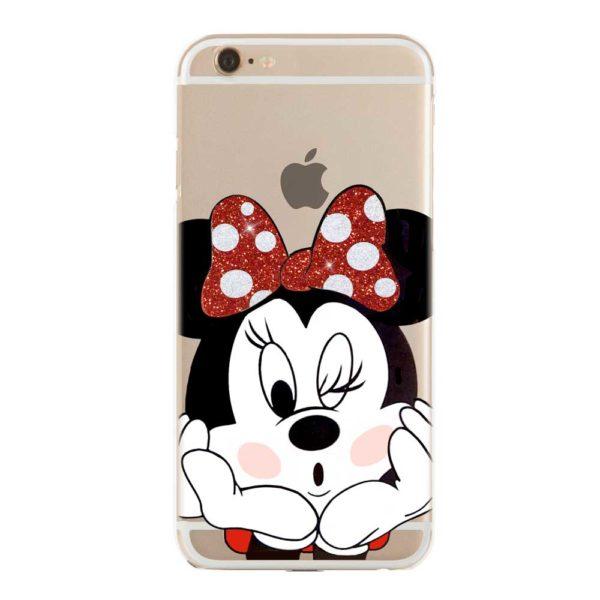 Cover morbida per smartphone Minnie Mouse Disney con fiocco rosso glitterato