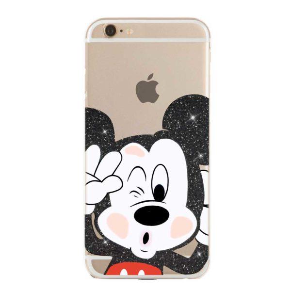Cover morbida trasparente per smartphone con Topolino Mickey Mouse Disney glitterato nero