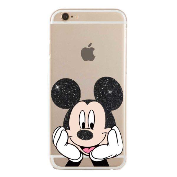 Cover morbida trasparente per smartphone con Topolino Mickey Mouse Glitterato nero