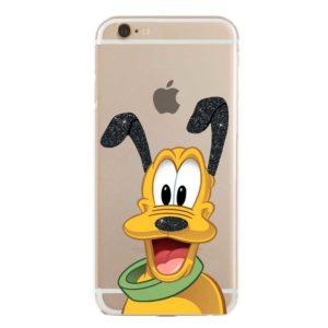 Cover trasparente morbida per smartphone con Pluto Disney glitterato verde e nero