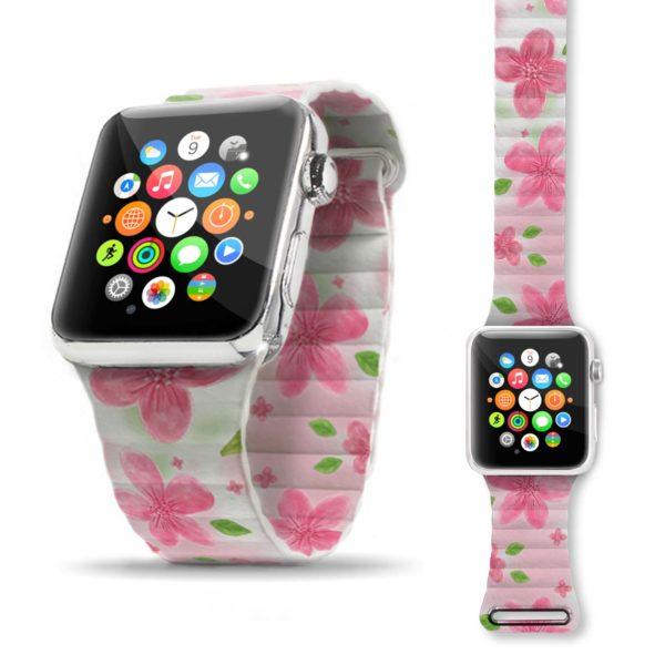 Cinturino per Apple Watch con chiusura magnetica con grafica personalizzata fiori rosa
