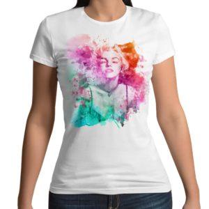 Tshirt 100% cotone con stampa frontale Marilyn Monroe arcobaleno con effetto colori ad acqua su maglietta bianca