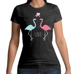 Tshirt personalizzata 100% cotone con stampa frontale di due flamingo che amoreggiano su maglietta nera