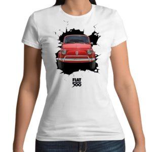 Tshirt personalizzata 100% cotone con stampa frontale di una fiat 500 che sfonda il muro su maglietta bianca