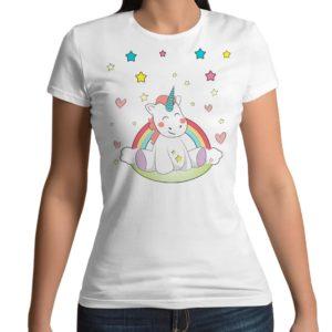 Tshirt 100% cotone con stampa frontale con unicorno e arcobaleno su base bianca