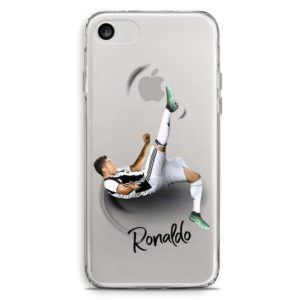 Cover morbida trasparente per smartphone con Cristiano Ronaldo CR7 che fa rovesciata maglia Juventus