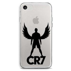 Cover morbida per smartphone con Cristiano Ronaldo con ali e logo CR7 Juventus grigia
