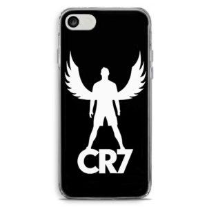 Cover morbida per smartphone con Cristiano Ronaldo con ali e logo CR7 Juventus